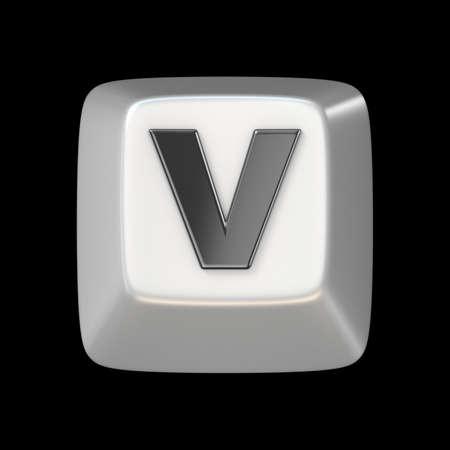 Computer keyboard key FONT. Letter V 3D render illustration isolated on black background