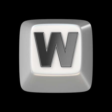 typer: Computer keyboard key FONT. Letter W 3D render illustration isolated on black background Stock Photo
