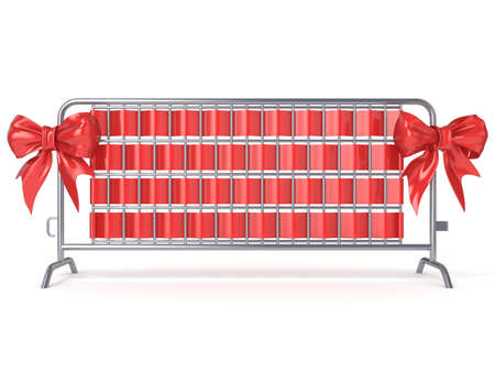 barricades: Steel barricades with red ribbon bows. Front view. 3D render illustration isolated on white background