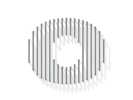 gratings: Silver, steel wire font. Number ZERO 0 with vertical shadows. 3D render illustration isolated on white background