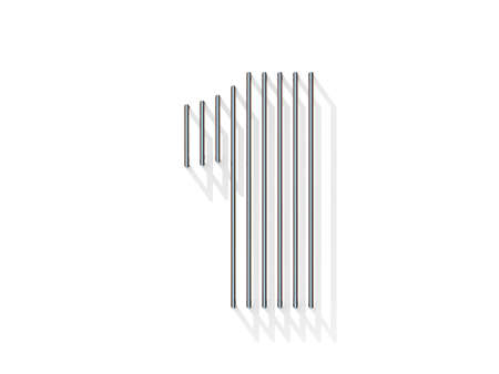 gratings: Silver, steel wire font. Number ONE 1 with vertical shadows. 3D render illustration isolated on white background Stock Photo