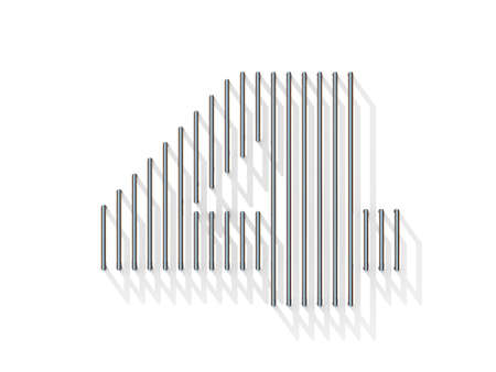 gratings: Silver, steel wire font. Number FOUR 4 with vertical shadows. 3D render illustration isolated on white background