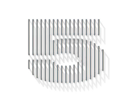gratings: Silver, steel wire font. Number FIVE 5 with vertical shadows. 3D render illustration isolated on white background Stock Photo