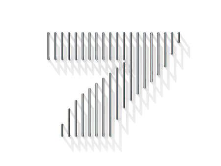 gratings: Silver, steel wire font. Number SEVEN 7 with vertical shadows. 3D render illustration isolated on white background Stock Photo