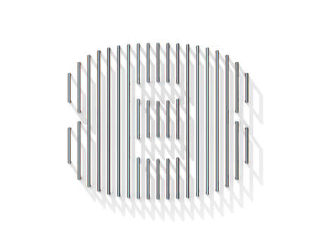 gratings: Silver, steel wire font. Number EIGHT 8 with vertical shadows. 3D render illustration isolated on white background