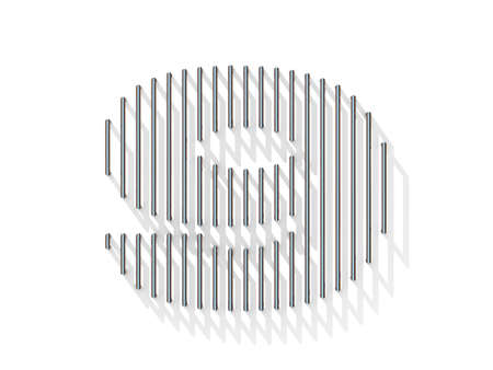 gratings: Silver, steel wire font. Number NINE 9 with vertical shadows. 3D render illustration isolated on white background