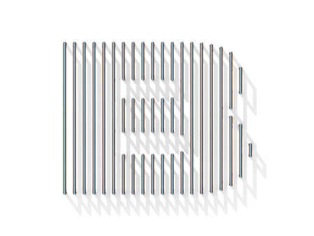 gratings: Silver, steel wire font. Letter B with vertical shadows.  3D render illustration isolated on white background Stock Photo