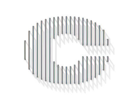 gratings: Silver, steel wire font. Letter C with vertical shadows.  3D render illustration isolated on white background