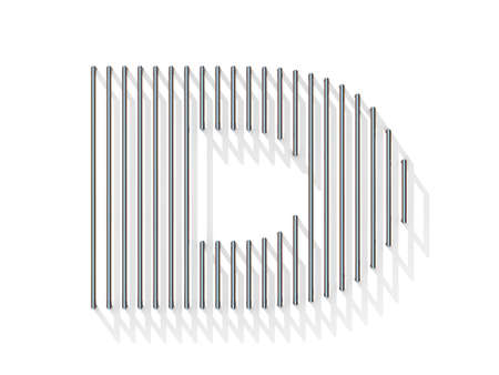 gratings: Silver, steel wire font. Letter D with vertical shadows.  3D render illustration isolated on white background Stock Photo