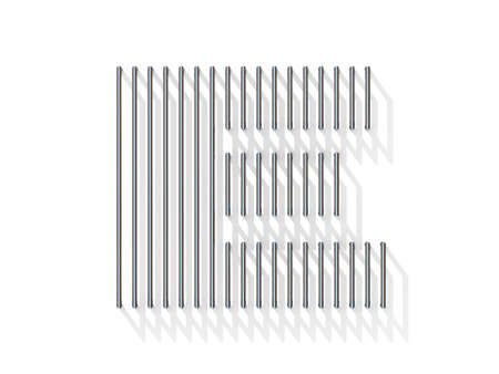 gratings: Silver, steel wire font. Letter E with vertical shadows.  3D render illustration isolated on white background
