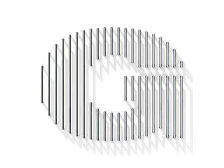 gratings: Silver, steel wire font. Letter G with vertical shadows.  3D render illustration isolated on white background