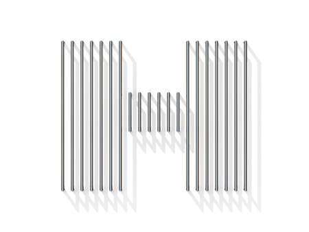 gratings: Silver, steel wire font. Letter H with vertical shadows.  3D render illustration isolated on white background Stock Photo