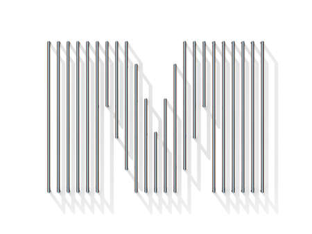 gratings: Silver, steel wire font. Letter M with vertical shadows.  3D render illustration isolated on white background