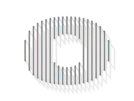 gratings: Silver, steel wire font. Letter O with vertical shadows.  3D render illustration isolated on white background