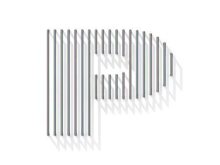 gratings: Silver, steel wire font. Letter P with vertical shadows.  3D render illustration isolated on white background