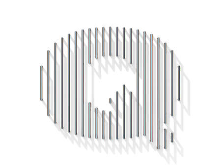 gratings: Silver, steel wire font. Letter Q with vertical shadows.  3D render illustration isolated on white background Stock Photo