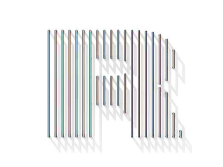 gratings: Silver, steel wire font. Letter R with vertical shadows.  3D render illustration isolated on white background