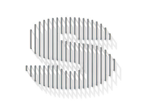 gratings: Silver, steel wire font. Letter S with vertical shadows.  3D render illustration isolated on white background