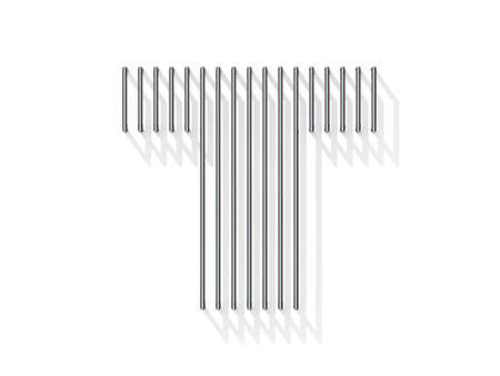 t bar: Silver, steel wire font. Letter T with vertical shadows.  3D render illustration isolated on white background