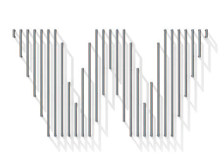 gratings: Silver, steel wire font. Letter W with vertical shadows.  3D render illustration isolated on white background