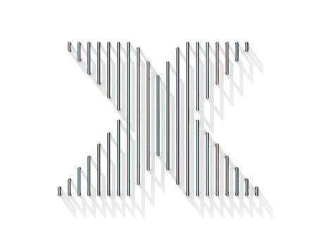 gratings: Silver, steel wire font. Letter X with vertical shadows.  3D render illustration isolated on white background