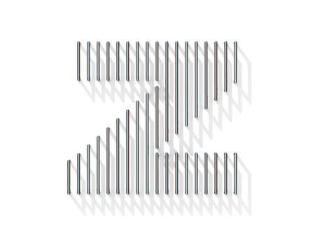 gratings: Silver, steel wire font. Letter Z with vertical shadows.  3D render illustration isolated on white background Stock Photo