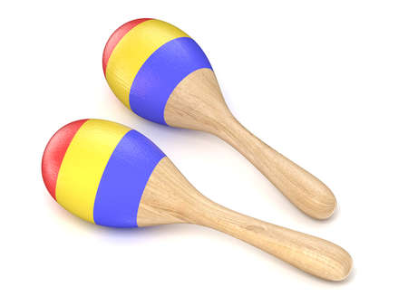 wooden toy: Wooden toy maracas. 3D render illustration isolated on white background Stock Photo