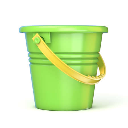Green yellow sand toy bucket. 3D render illustration isolated on white background