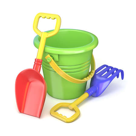 bucket and spade: Toy bucket, rake and spade. 3D render illustration isolated on white background
