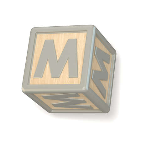rotated: Letter M wooden alphabet blocks font rotated. 3D render illustration isolated on white background Stock Photo