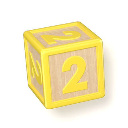 Number 2 TWO wooden alphabet blocks font rotated. 3D render illustration isolated on white background