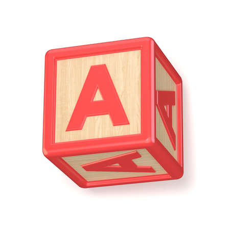 rotated: Letter A wooden alphabet blocks font rotated. 3D render illustration isolated on white background