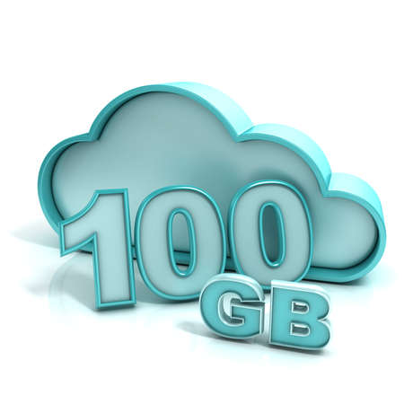 Cloud computing and database. 100 GB capacity. Concept of online storage. 3D render illustration isolated on white background