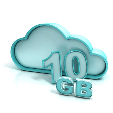 remote server: Cloud computing and database. 10 GB capacity. Concept of online storage. 3D render illustration isolated on white background Stock Photo