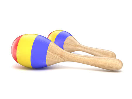 primeval: Wooden toy maracas. 3D render illustration isolated on white background Stock Photo