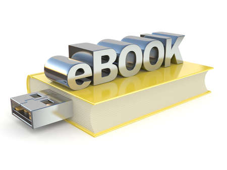 eBook with USB plug. 3D render illustration isolated on white background
