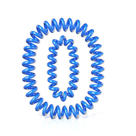 elasticity: Spring, spiral cable number ZERO 0 3D render illustration, isolated on white background