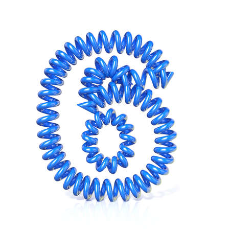 elasticity: Spring, spiral cable number SIX 6 3D render illustration, isolated on white background