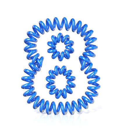 elasticidad: Primavera, número de cable en espiral OCHO 8 3D rinden la ilustración, aislado en fondo blanco