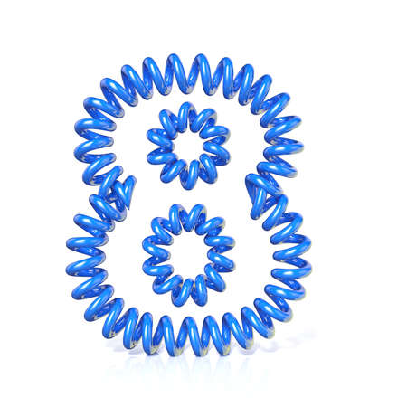 elasticity: Spring, spiral cable number EIGHT 8 3D render illustration, isolated on white background