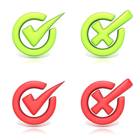 Correct and incorrect check marks in circle. 3D render illustration isolated on white background Stock Photo