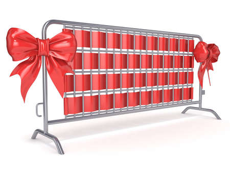 Steel barricades with red ribbon bows. Side view. 3D render illustration isolated on white background Stock Photo