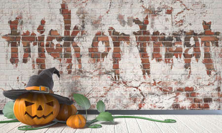 green lantern: Trick or treat. Halloween greeting with Jack O Lantern pumpkin and green leafs on wooden floor. 3D render illustration background