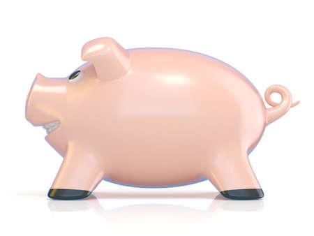 concepto de la hucha, cerdo cerámica. 3D Ilustración de la representación aislada en el fondo blanco