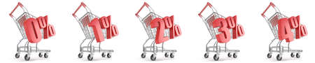 2 0: 0%, 1%, 2%, 3%, 4%  percent discount in front of shopping cart. Sale concept. 3D render illustration isolated on white background