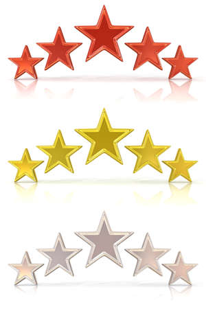 Collection of 3D rendering of five red, gold and white stars isolated on white Stock Photo