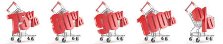 75 80: 75%, 80%, 90%, 100%, % ercent discount in front of shopping cart. Sale concept. 3D render illustration isolated on white background