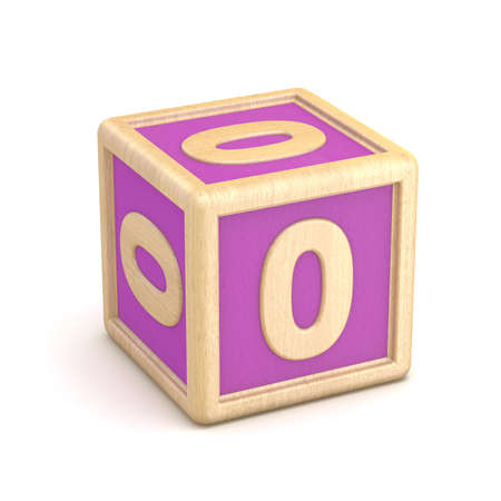 Number 0 ZERO wooden alphabet blocks font rotated. 3D render illustration isolated on white background