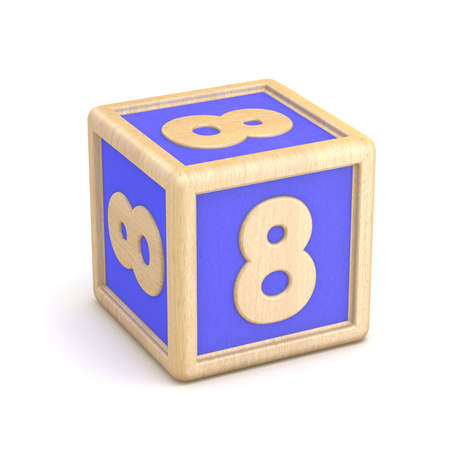 playtime: Number 8 EIGHT wooden alphabet blocks font rotated. 3D render illustration isolated on white background Stock Photo