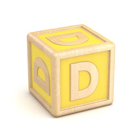 basic letters: Letter D wooden alphabet blocks font rotated. 3D render illustration isolated on white background Stock Photo